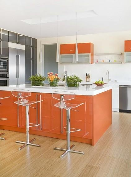 Orange d co for Deco cuisine houzz