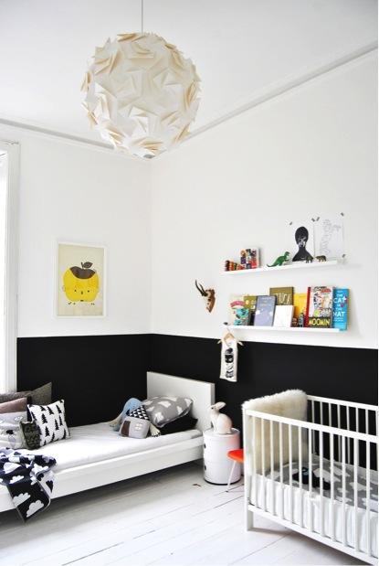 Id es d co pour de jolies chambres d enfant en noir blanc - Chambre enfant noir et blanc ...