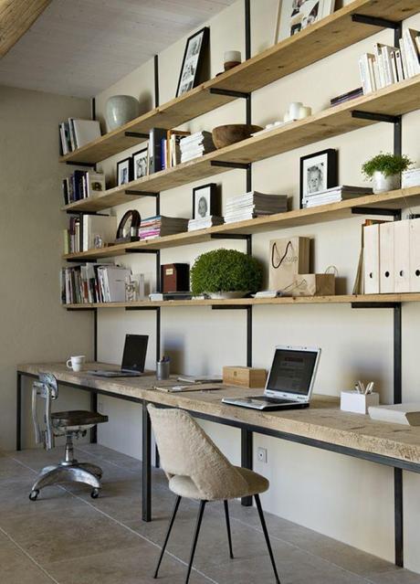 diy un bureau industriel tout simple en bois brut et acier. Black Bedroom Furniture Sets. Home Design Ideas