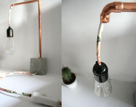 diyourself une lampe en cuivre et b ton. Black Bedroom Furniture Sets. Home Design Ideas
