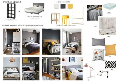 une chambre moderne en gris et jaune la suite relooking. Black Bedroom Furniture Sets. Home Design Ideas