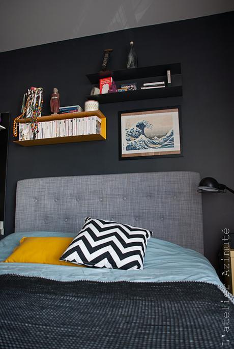 une chambre moderne en gris et jaune la suite relooking. Black Bedroom Furniture Sets. Home Design Ideas