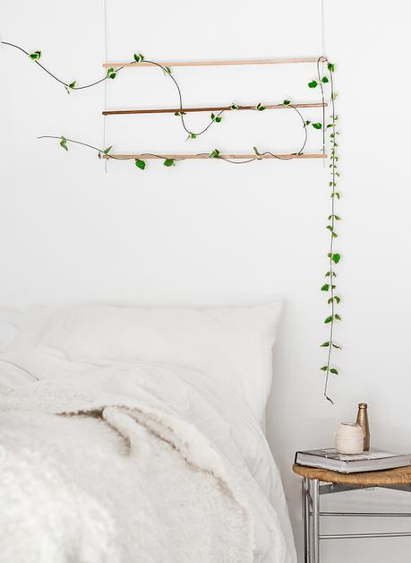 diy une suspension verte murale en t te de lit. Black Bedroom Furniture Sets. Home Design Ideas