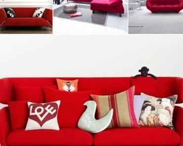 Autour d'un canapé rouge, quelle peinture, quelle couleur choisir ?