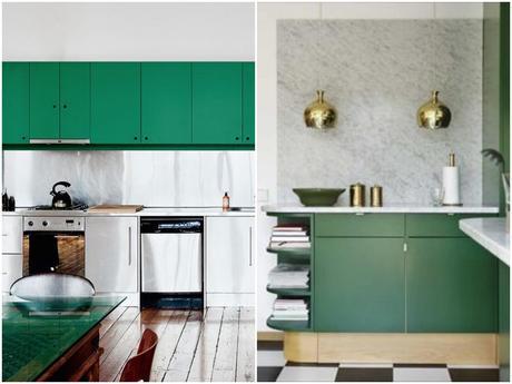 Cuisine verte mur meubles carrelage et d tail d co for Meuble mural vert