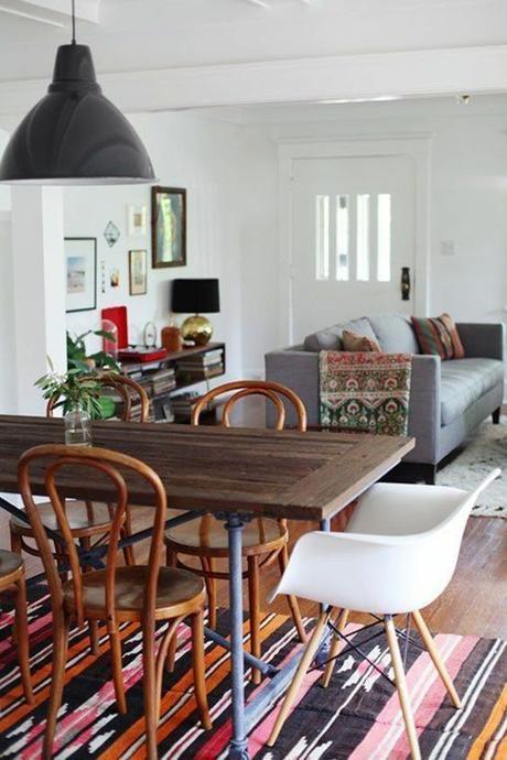 salle-a-manger-boheme-chaises-depareillees-chaises-bois-eames-blanc-tapis-ethnique