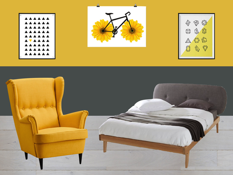 inspiration chambre en jaune et gris. Black Bedroom Furniture Sets. Home Design Ideas