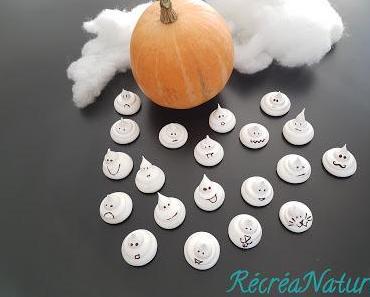 Meringues Fantômes d'Halloween au Jus de Pois Chiches... Recette Vegan {Passe- Plats entre Amis #11}