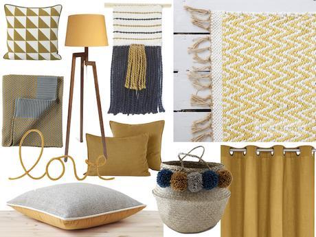 chambre jaune moutarde pour une d co r tro et tonique. Black Bedroom Furniture Sets. Home Design Ideas