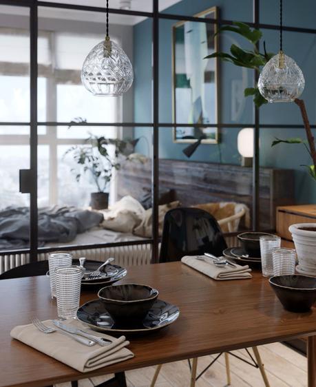 Visite déco : style loft et mur bleu canard