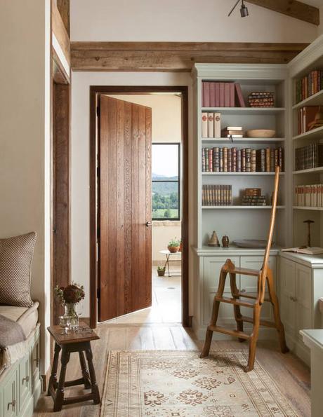 deco maison de campagne moderne terrasse bibliothèque