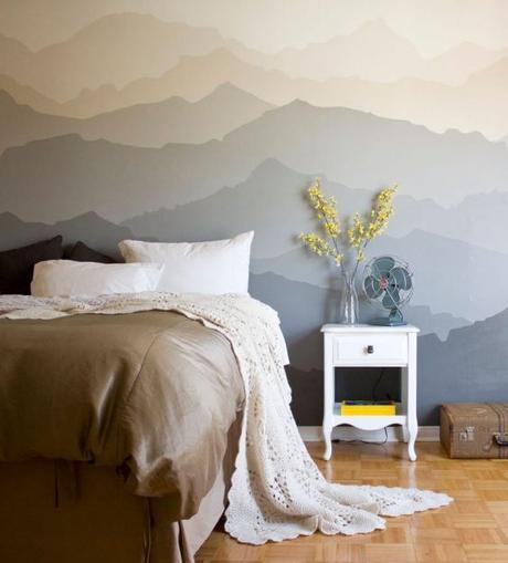 tete de lit en peinture dessin aquarelle montagne