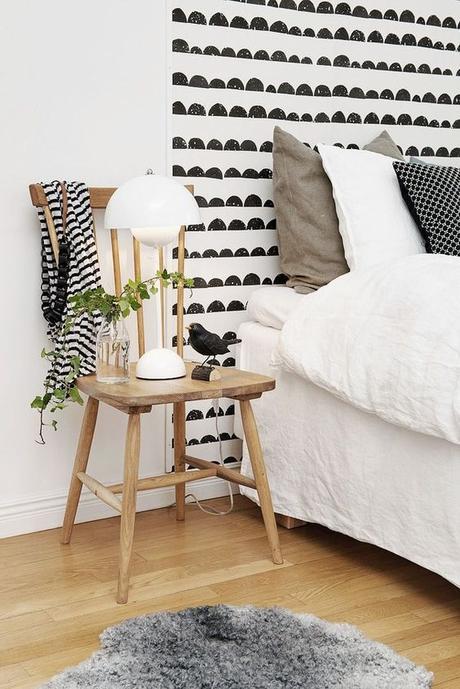 tete de lit en peinture motif noir blanc scandinave