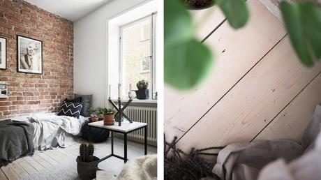 Suède / Studio de 20m² avec un mur de briques /