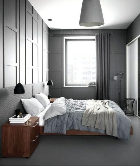 dressing chambre mur gris deco masculine