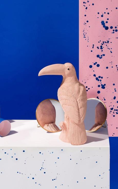 déco toucan tireline rose poudree vintage statue blog