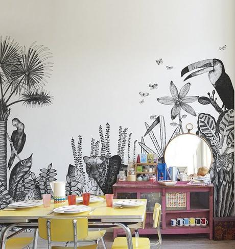 papier peint déco toucan coin bureau archi scandinave