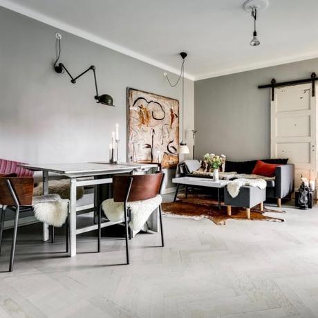 déco industrielle vintage salon mur gris scandinave