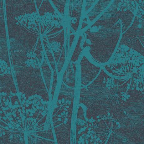 Papier peint Cow Parsley en coloris turquoise