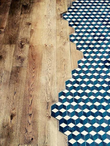 incrustation parquet carrelage separer deux pieces